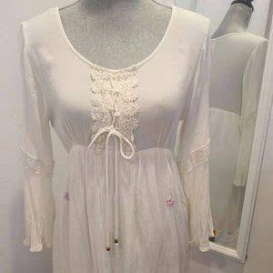 White dress with small purpleflora